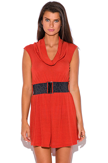 $5 - Cute cheap find sweater - rust orange belted cut out backless sweater mini dress