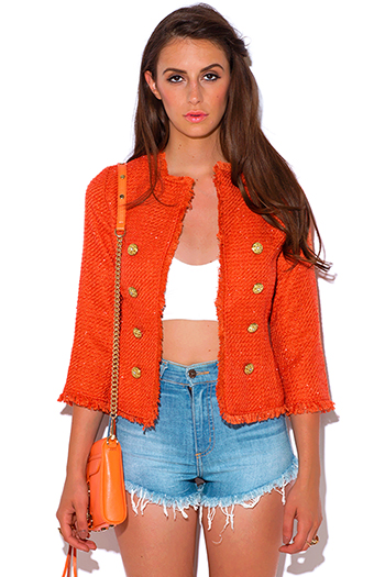 $20 - Cute cheap neon orange plus size blazer 72254 size 1xl 2xl 3xl 4xl onesize - orange metallic tweed blazer jacket