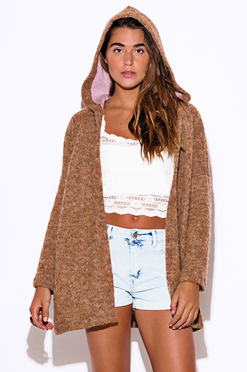 $15 - Cute cheap top sweater cardigan - camel beige fuzzy boho sweater cardigan hoodie jacket