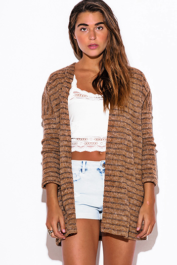 $15 - Cute cheap top sweater cardigan - camel beige stripe fuzzy boho sweater cardigan jacket