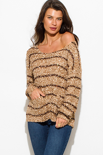 $15 - Cute cheap camel brown stripe sequined off shoulder pocketed long sleeve crochet sweater knit top