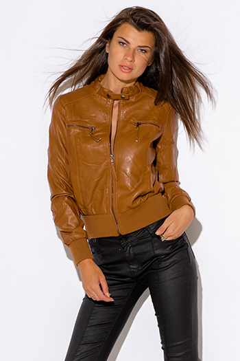 $15 - Cute cheap navy blue faux fur collar vegan leather zip up biker moto jacket - caramel brown zipper trim faux leather ribbed bomber moto jacket