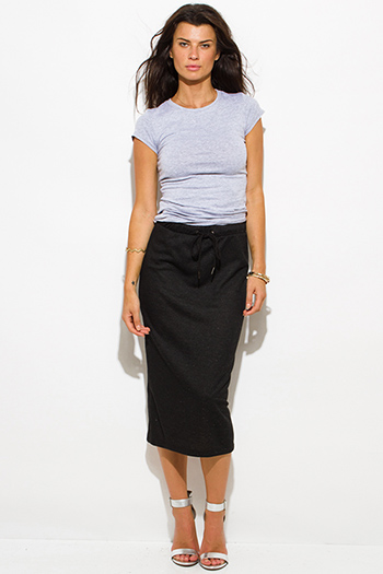 $15 - Cute cheap clothes - charcoal black sweater high waisted drawstring slit midi pencil skirt
