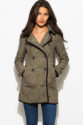 $40 - Cute cheap jacket - charcoal gray beige wool blend tweed preppy double breasted coat jacket