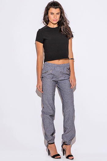 $15 - Cute cheap clothes - charcoal gray chambray zipper trimmed jogger pants
