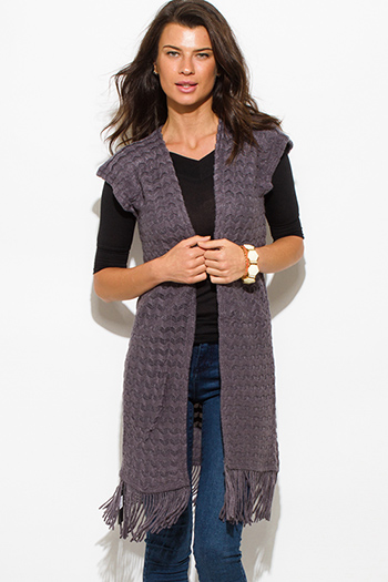 $15 - Cute cheap black perforated faux leather open cardigan duster coat 91455 - charcoal gray chevron crochet knit fringe trim sleeveless open front duster cardigan top