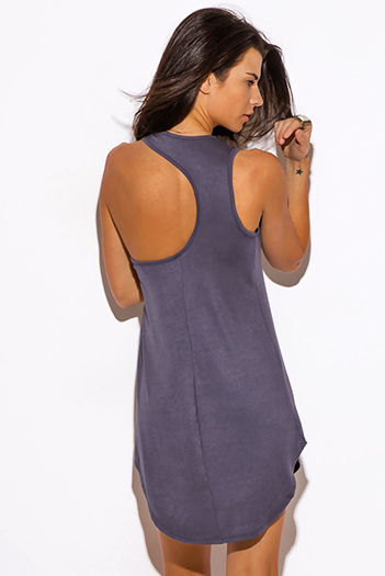 $15 - Cute cheap dress - charcoal gray cut out racer back fitted tank mini dress