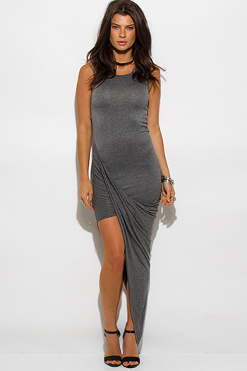 $15 - Cute cheap clothes - charcoal gray draped asymmetrical high low hem jersey bodycon maxi sexy party dress