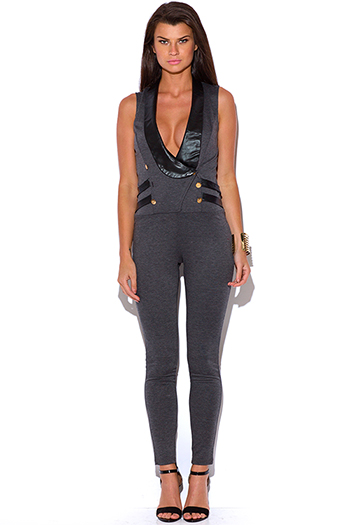 $25 - Cute cheap fitted catsuit - charcoal gray faux leather trim military inspired tuxedo fitted catsuit jumpsuit