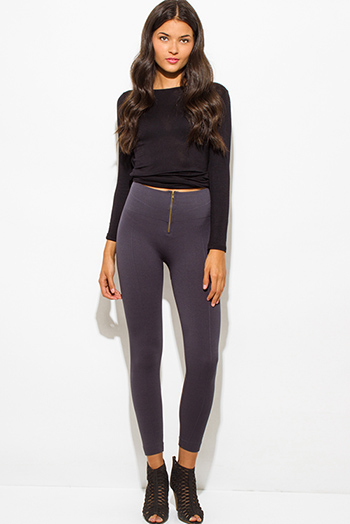 $15 - Cute cheap fitted leggings - charcoal gray fleece lined golden zipper fitted high waisted leggings