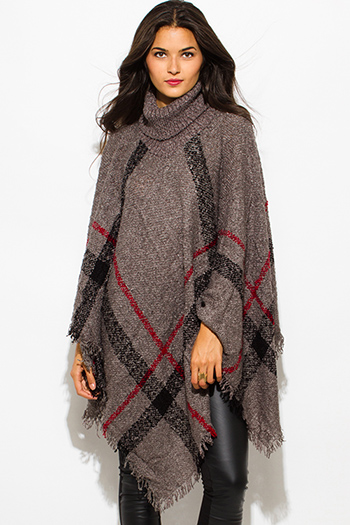 $25 - Cute cheap gray tunic - charcoal gray giant checker plaid fuzzy boho knit poncho sweater jacket tunic top
