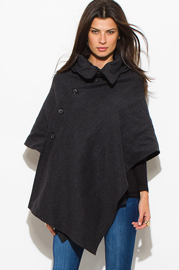 $30 - Cute cheap jacket - charcoal gray hooded sweater poncho cape jacket top