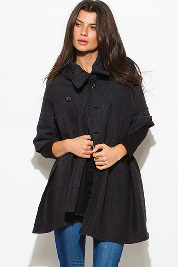$30 - Cute cheap penny stock dark gray cropper bomber jacket 84796 - charcoal gray hooded sweater poncho cape jacket top