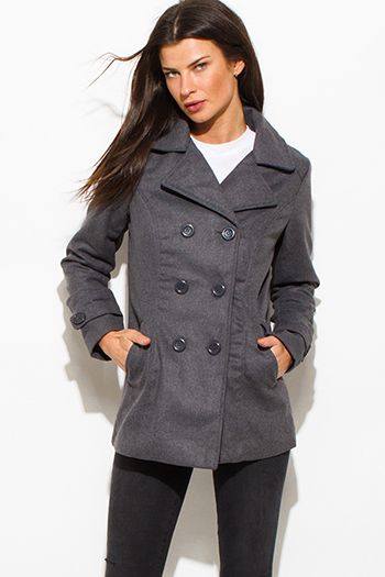 $20 - Cute cheap pocketed long sleeve jumpsuit - charcoal gray long sleeve double breasted pocketed peacoat jacket