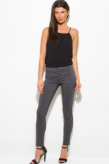 $15 - Cute cheap navy blue skinny pants - charcoal gray mid rise skinny fitted suiting trouser pants
