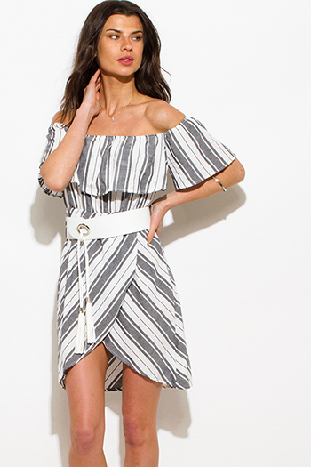 $20 - Cute cheap metallic bandage mini dress - charcoal gray nautical stripe off shoulder ruffle belted boho mini sun dress