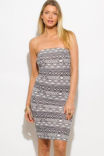 $15 - Cute cheap peplum fitted cocktail dress - charcoal gray ribbed knit ethnic print strapless tube bodycon fitted sexy club dress
