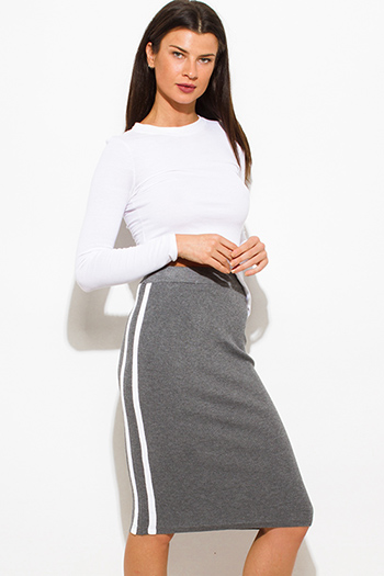 $15 - Cute cheap black high waisted golden belt pocketed zipper back suiting midi pencil skirt - charcoal gray sweater ribbed knit white double stripe fitted midi pencil skirt