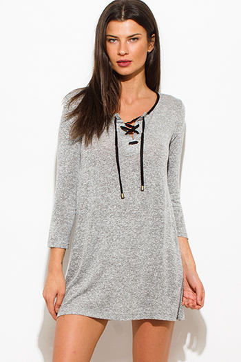 $15 - Cute cheap grayripped cut out neckline ribbed boyfriend tee shirt tunic mini dress - charcoal gray two toned cotton blend long sleeve laceup front tunic top mini shirt dress