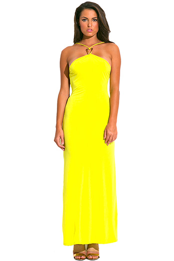 $10 - Cute cheap yellow sexy party dress - chartruese yellow green bejeweled halter backless evening party maxi sun dress