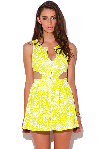 $15 - Cute cheap color green dress - lime green ethnic print zip up cut out a line skater sexy party mini dress