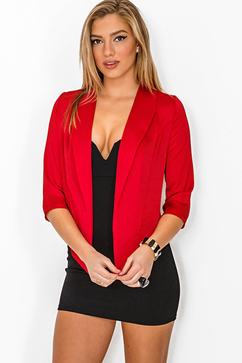 $15 - Cute cheap jacket - cherry red silky open blazer top