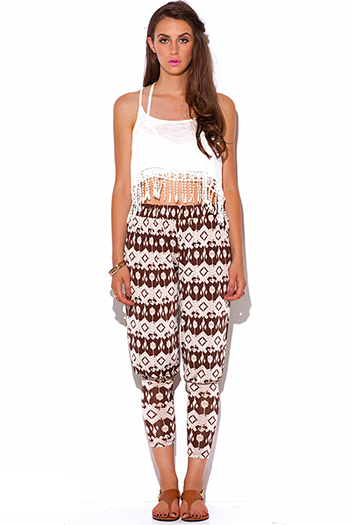 $10 - Cute cheap ethnic print jumpsuit - brown and mocha ethnic print slinky tapered boho harem pants