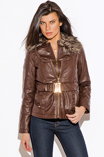 $20 - Cute cheap top - chocolate brown quilted belted faux fur collar double layer zip up faux leather jacket