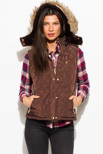 $25 - Cute cheap red quilted faux fur lined front zip banded hooded zipper pocketed crop puffer vest top - chocolate brown quilted suede contrast faux fur lined golden button zip up hooded pocketed vest