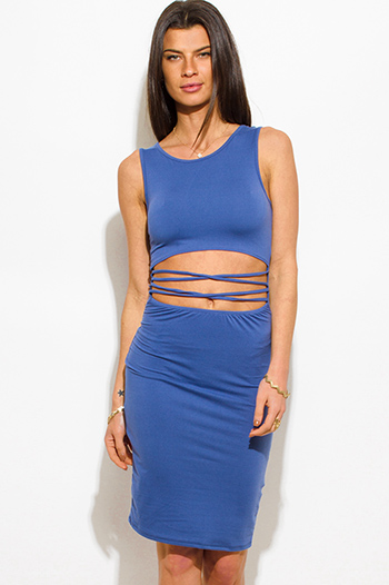 $15 - Cute cheap dusty blue ripped cut out neckline boyfriend tee shirt tunic mini dress - cobalt blue cut out criss cross caged front sexy clubbing mini dress