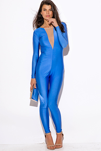 $25 - Cute cheap vip mesh high slit one shoulder navy blue evening romper jumpsuit 2325 - cobalt blue mesh inset backless long sleeve fitted bodycon sexy clubbing catsuit jumpsuit