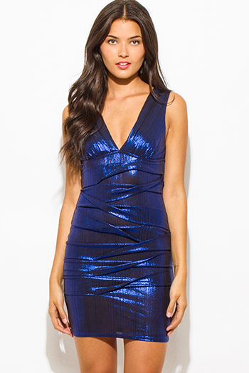 $20 - Cute cheap blue fitted mini dress - cobalt blue metallic sleeveless low v neck ruched bodycon fitted bandage cocktail party sexy club mini dress