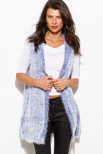 $15 - Cute cheap charcoal gray two toned open front faux fur trim hooded pocketed sweater knit cardigan top - cobalt blue textured open front hooded fuzzy sweater knit cardigan vest top