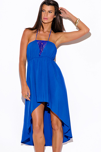 $10 - Cute cheap dark blue denim low rise crop jean capris 89367 - cobalt royal blue lace trim halter high low summer sun dress