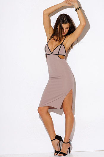 $20 - Cute cheap color animal print dress - cocoa beige color block bustier cut out open caged backless slit bodycon fitted sexy clubbing midi dress