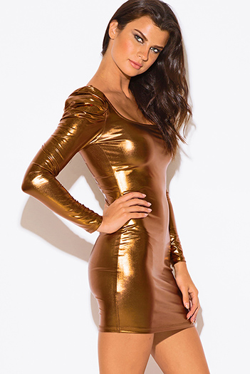 $7 - Cute cheap cute juniors dolman sleeve color block ruched sexy clubbing dress - bronze gold metallic power shoulder liquid faux leather long sleeve fitted bodycon clubbing mini dress