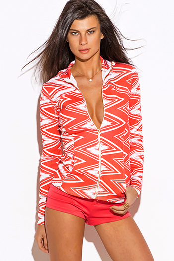 $9 - Cute cheap white satin faux leather trim zip up long sleeve bomber jacket top - coral chevron print scuba zip up high neck fitted sporty long sleeve jacket top