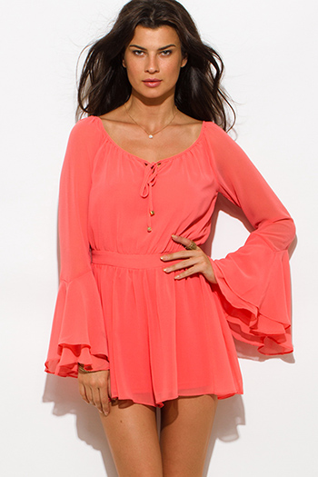 $20 - Cute cheap rust red chiffon slit blouson sleeve deep v neck cut out open back romper playsuit jumpsuit - coral chiffon bell sleeve cut out back romper jumpsuit