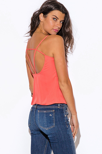 $10 - Cute cheap cut out sides banded waisted tank top - coral caged cut out back tank top