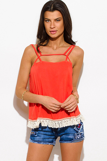 $10 - Cute cheap boho cut out blouse - coral cut out caged fringe trim spaghetti strap boho swing tank top