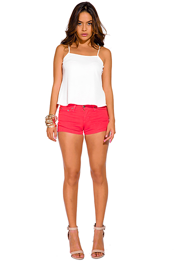$10 - Cute cheap denim fitted shorts - coral pink fitted denim jean shorts