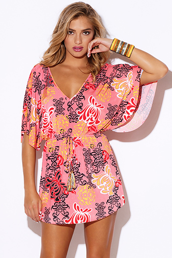 $15 - Cute cheap cute juniors dolman sleeve color block ruched sexy clubbing dress - coral ethnic print v neck open back kimono sleeve tassel sash boho clubbing mini dress