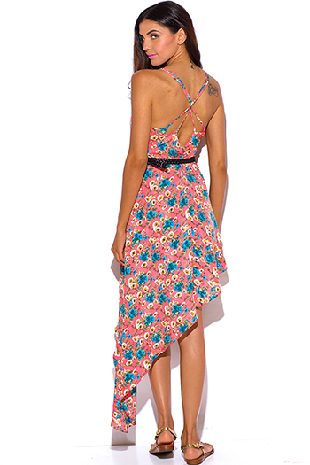$15 - Cute cheap high low dress - coral floral print belted asymmetrical high low sun dress