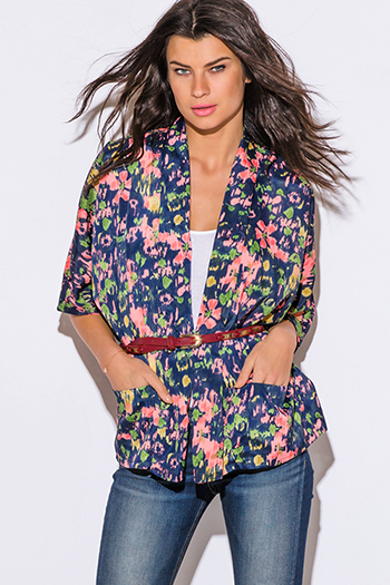 $15 - Cute cheap clothes - coral floral print navy blue boho kimono blazer jacket