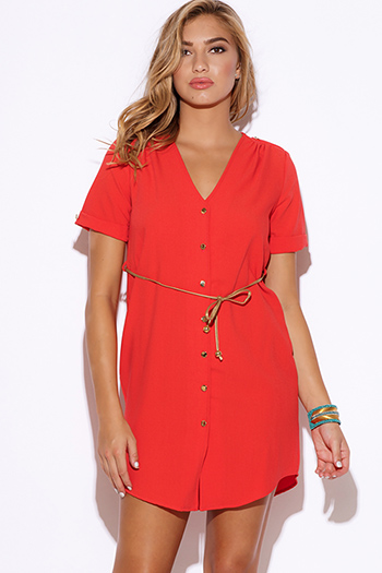 $15 - Cute cheap shift mini dress - coral  crepe sash belted short sleeve button up sexy party shift mini shirt dress