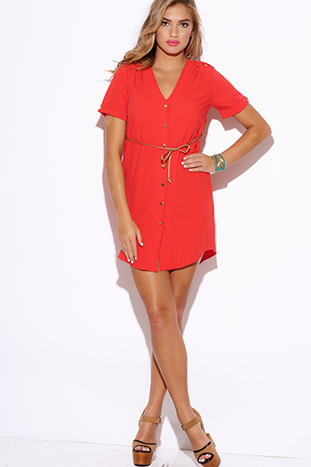 $10 - Cute cheap coral  crepe sash belted short sleeve button up sexy party shift mini shirt dress