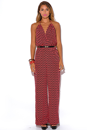 $35 - Cute cheap red yellow abstract print strapless sexy party jumpsuit 79510 - coral red graphic print belted halter party jumpsuit
