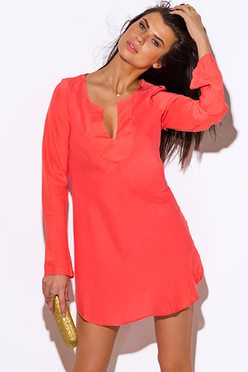 $20 - Cute cheap color coral dress - coral Indian collar boho beach cover up tunic top mini dress