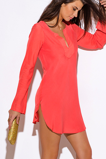 $20 - Cute cheap coral boho dress - coral Indian collar boho beach cover up tunic top mini dress