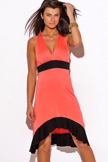 $15 - Cute cheap color coral dress - coral jersey color block racer back sun dress